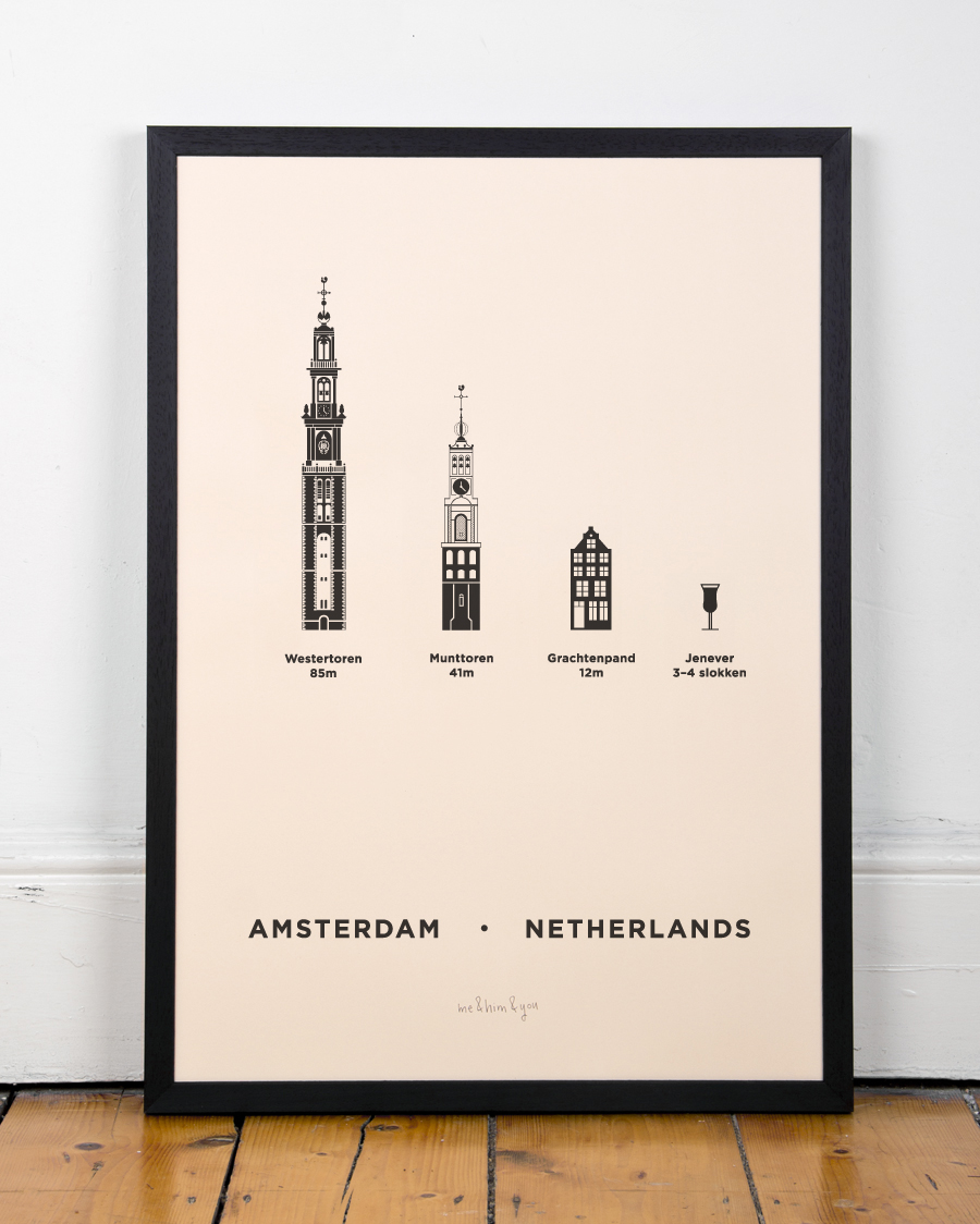 Amsterdam Screenprint City Poster By Me Amp Him Amp You