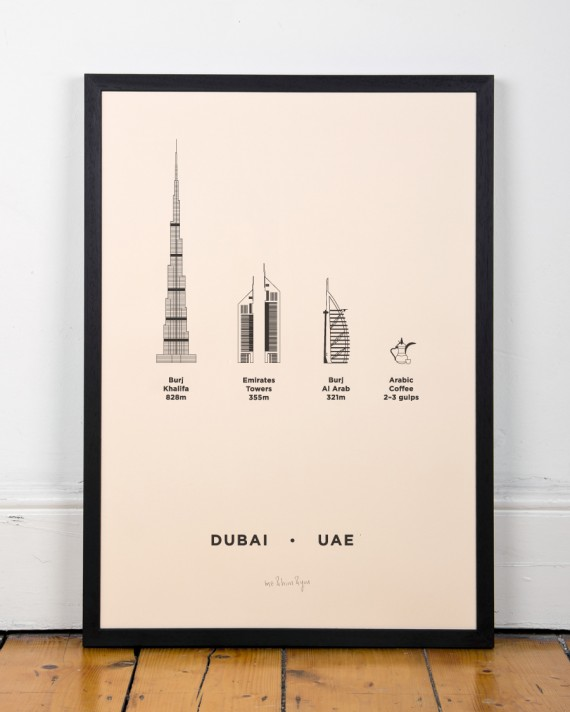 Dubai UAE city Screenprint poster
