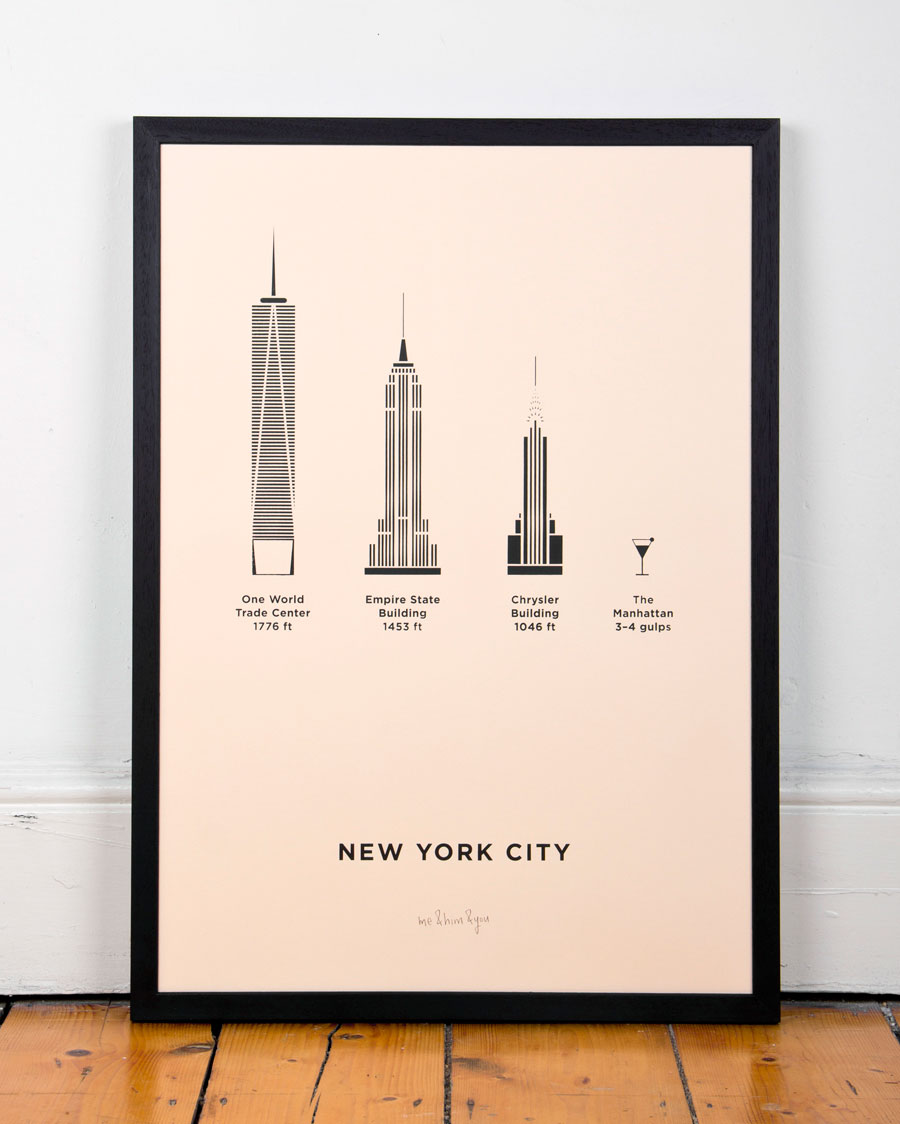 new york city screenprint me him you. Black Bedroom Furniture Sets. Home Design Ideas