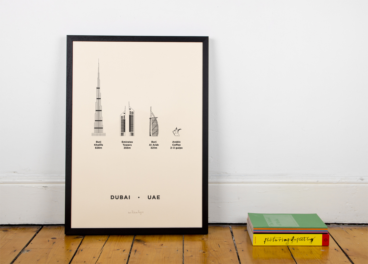 Dubai UAE city Screenprint poster