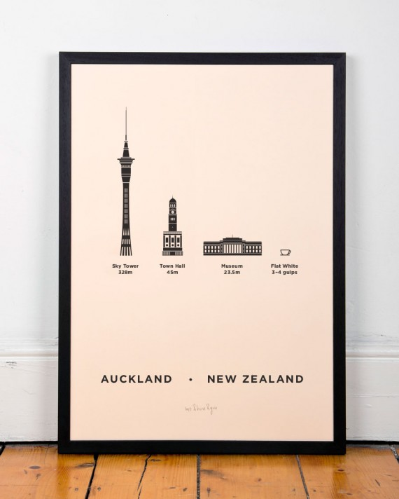 Aukland new zealand city print poster